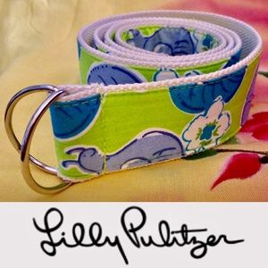Lilly Pulitzer Vintage Escargot Canvas D-Ring Belt